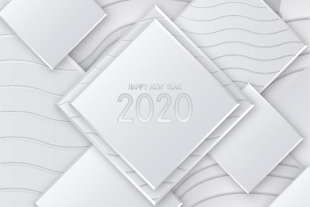 Tarjeta moderna de feliz año nuevo con fondo 3d