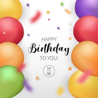 Tarjeta moderna de feliz cumpleaños con globos realistas
