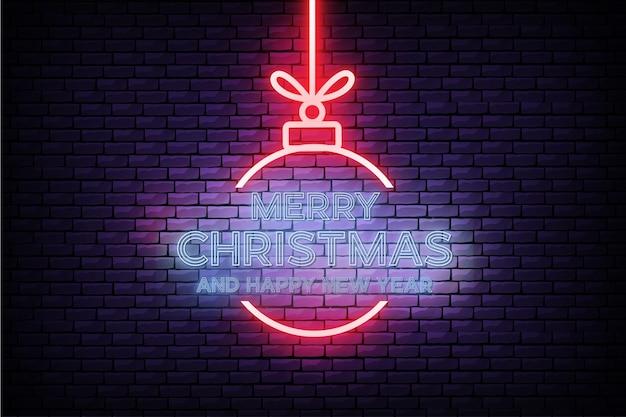 Tarjeta moderna de feliz navidad y año nuevo con diseño de neón realista