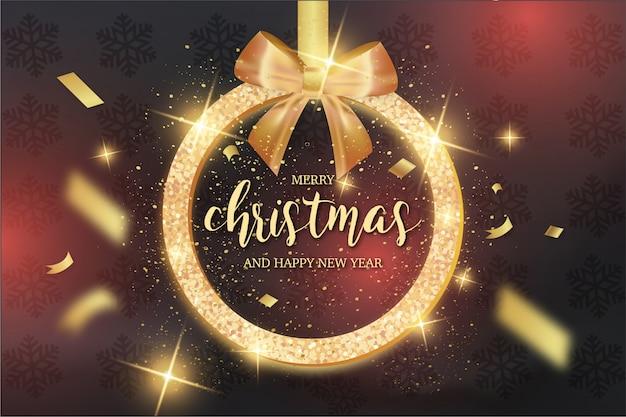 Tarjeta moderna de feliz navidad con cinta dorada