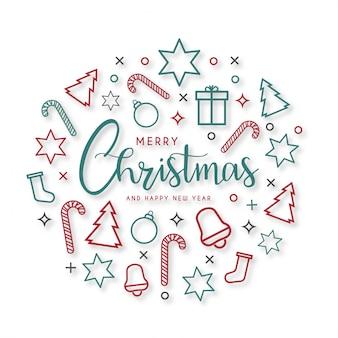 Tarjeta moderna de feliz navidad con iconos planos