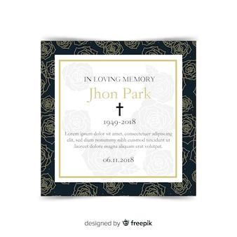 Tarjeta moderna de funeral con estilo elegante