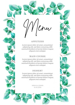 Tarjeta moderna del menú de la hoja del eucalipto del verdor.
