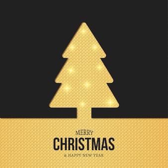 Tarjeta moderna de silueta de árbol de navidad con textura dorada
