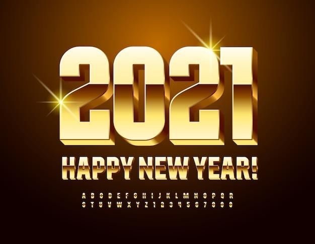 Tarjeta moderna de vector ¡feliz año nuevo 2021! fuente elegante decorativa. números y letras del alfabeto 3d de oro