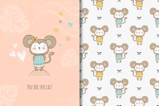 Tarjeta de mono de dibujos animados y patrones sin fisuras
