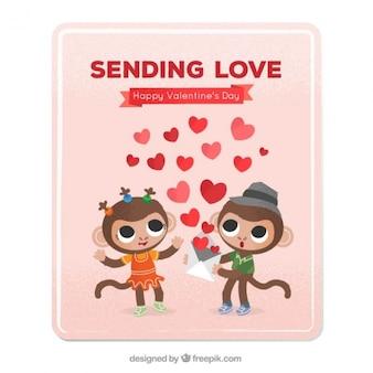 Tarjeta de monos enamorados