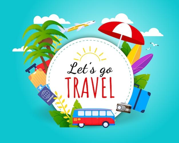 Tarjeta motivacional travel lets go.