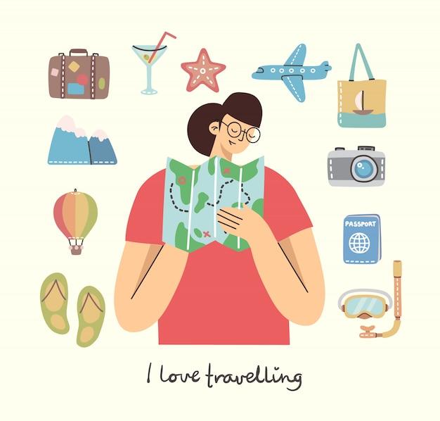 Tarjeta con la mujer con el mapa y los objetos y los iconos relacionados con viajes y vacaciones de verano. para usar en carteles, pancartas, tarjetas y collages de patrones.