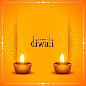 Tarjeta naranja tradicional feliz diwali con diya realista
