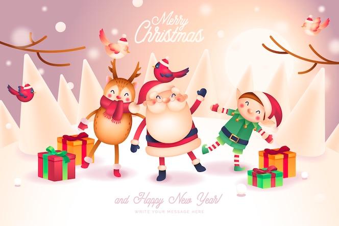 Tarjeta de navidad con adorables personajes de papá noel y amigos