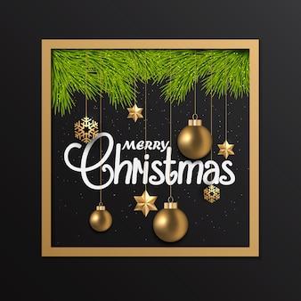 Tarjeta de navidad con adornos en marco