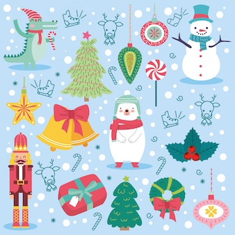 Tarjeta de navidad con animales lindos.