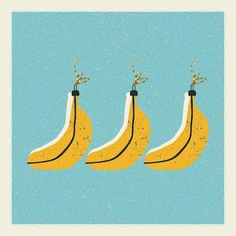 Tarjeta de navidad y año nuevo con adornos para árboles de navidad en forma de plátanos en vector.