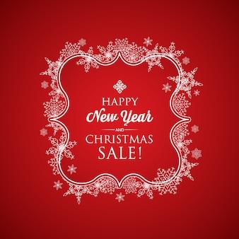 Tarjeta de navidad y año nuevo con inscripción en elegante marco y copos de nieve en rojo.
