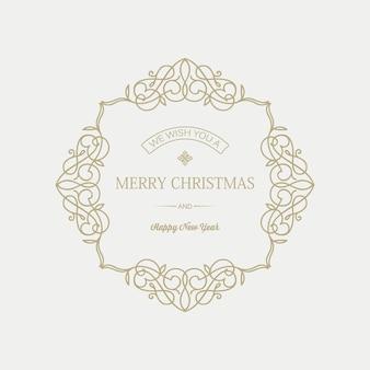 Tarjeta de navidad y año nuevo con inscripción de saludo en elegante marco