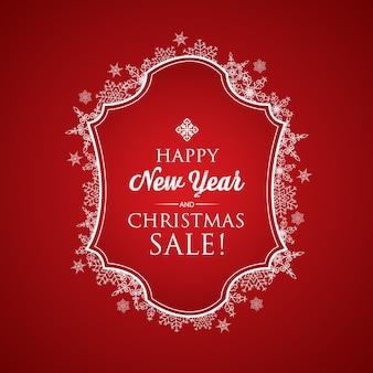 Tarjeta de navidad y año nuevo con inscripción de saludo en marco y hermosos copos de nieve en rojo