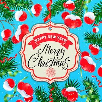 Tarjeta de navidad y año nuevo con muérdago