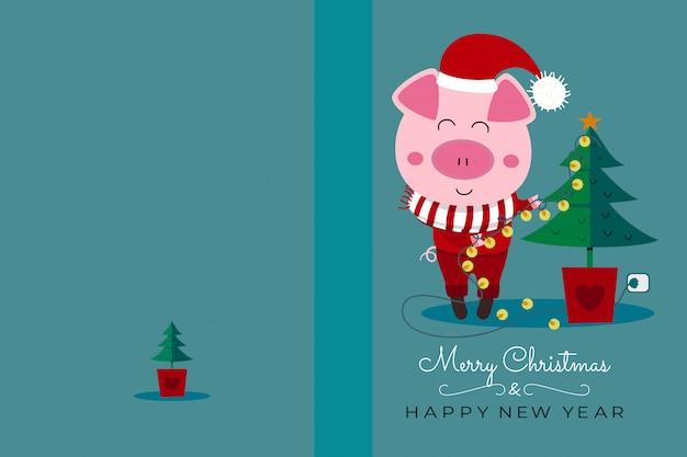 Tarjeta de navidad y año nuevo.