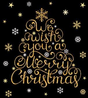 Tarjeta de navidad con árbol y copos de nieve