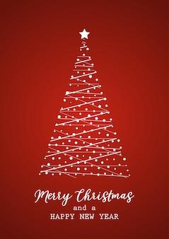 Tarjeta de navidad con árbol y letras