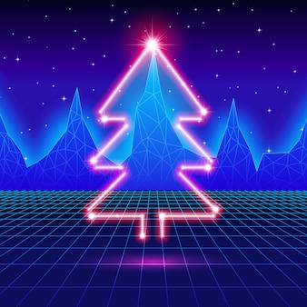 Tarjeta de navidad con árbol de neón y fondo de computadora de los 80