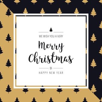 Tarjeta de navidad árbol patrón saludo texto borde marco dorado triángulo negro fondo