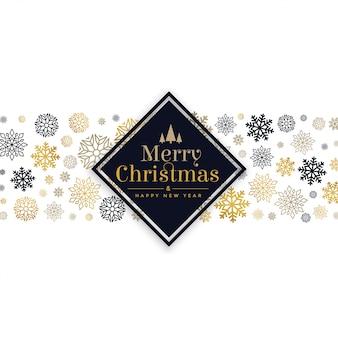 Tarjeta de navidad blanca con diseño de copos de nieve