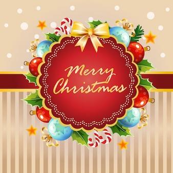 Tarjeta de navidad bola luz decoracion