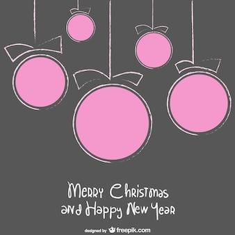 Tarjeta de navidad con bolas de color rosa