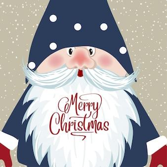 Tarjeta de navidad con cara de gnomo. estilo retro