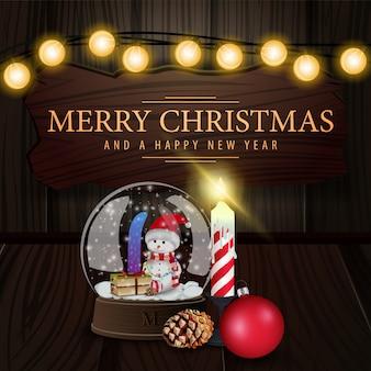 Tarjeta de navidad con cartel de madera