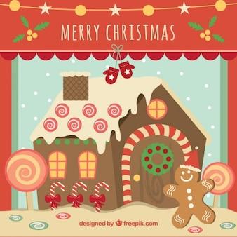 Tarjeta de navidad con casita de jengibre