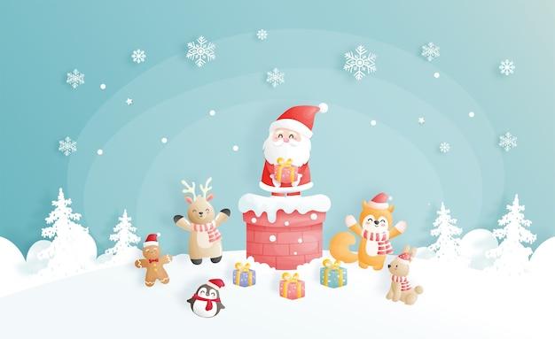 Tarjeta de navidad, celebraciones con lindo lindo santa y amigos en una chimenea y escena navideña