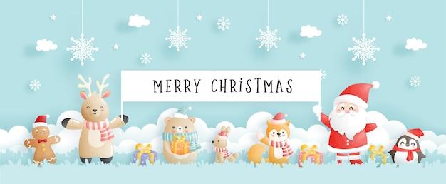 Tarjeta de navidad, celebraciones con santa y amigos, banner de escena navideña en ilustración de estilo de corte de papel.