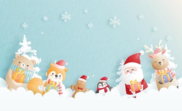 Tarjeta de navidad, celebraciones con santa y amigos, escena de navidad en la ilustración de estilo de corte de papel.