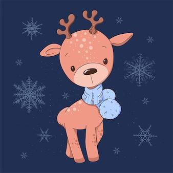 Tarjeta de navidad ciervos de dibujos animados lindo en una bufanda azul