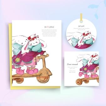 Tarjeta de navidad del conejo rosa.
