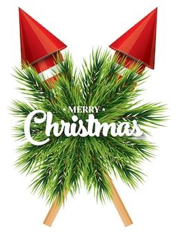 Tarjeta de navidad con copo de nieve blanca, rama de pino y cohetes rojos aislados