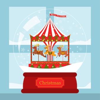 Tarjeta de navidad corusel de renos en bola de nieve junto a la ventana