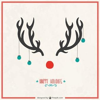 Tarjeta de navidad con cuernos de reno
