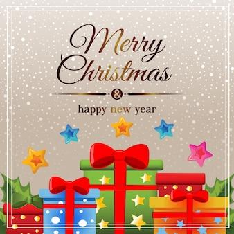 Tarjeta de navidad dorada nieve con regalo