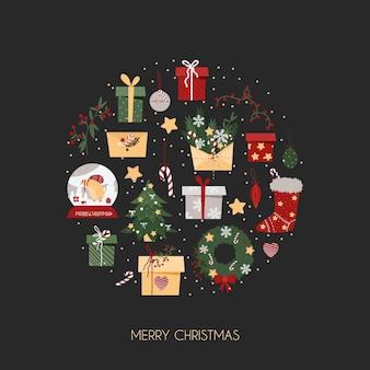 Tarjeta de navidad con elementos sobre un fondo gris