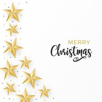 Tarjeta de navidad con estrellas doradas y puntos