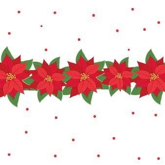 Tarjeta de navidad con flores de pascua en el medio, ilustración