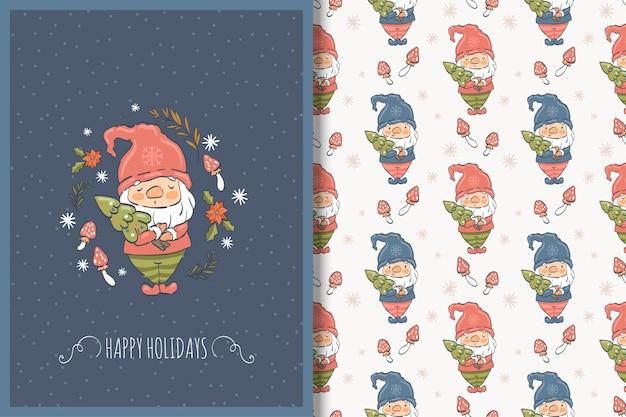 Tarjeta de navidad gnomo dibujado a mano y patrones sin fisuras