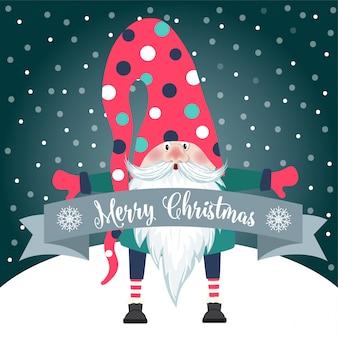 Tarjeta de navidad con gnomo lindo y deseos. diseño plano. vector