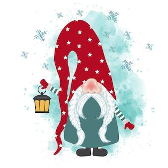 Tarjeta de navidad con gnomo