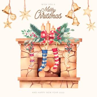 Tarjeta de navidad con hermosa chimenea y adornos