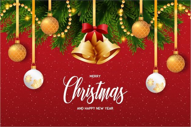 Tarjeta de navidad con hermosa decoracion